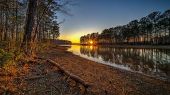 солнце, закат, озеро