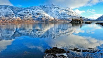 горы, снег, озеро