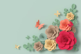 узор, flowers, рендеринг, цветы, paper, rendering, композиция, butterfly, colorful, floral, composition