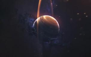 Космос, Туманность, Молнии, Планета, Звезды, Кольцо
