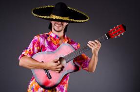 шляпа, гитара, фон, мужчина, наряд, поза