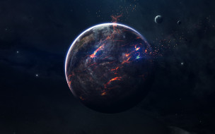Звезды, Планета, Космос, Осколки, Space, Stars, Арт, Пламя