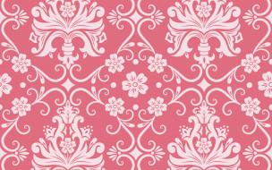 орнамент, узор, розовый, фон, цветы