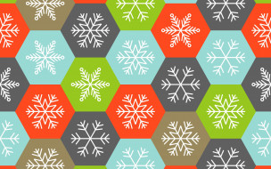 colorful, фон, снежинки, зима