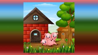 дом, поросенок, дерево, цветы, свинья