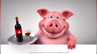 свинья, вино, поднос, бокал, бутылка, поросенок, фужер