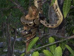 змея, фон, взгляд, девушка