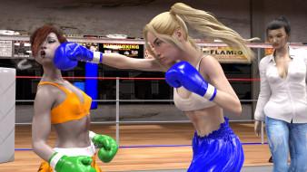 бокс, ринг, фон, взгляд, девушки