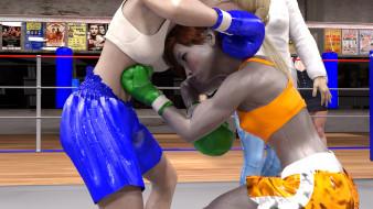 фон, ринг, бокс, взгляд, девушки