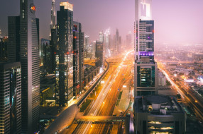 огни, улица, вечер, Дубай, ОАЭ