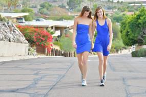 девушки, близняшки, сёстры, модели, улица, Raylene, Romi