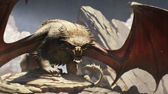 фон, крылья, взгляд, дракон