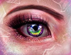 рисованное, - другое, глаз, ресницы, бровь, фон