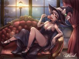 аниме, магия,  колдовство,  halloween, девушка
