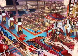 аниме, город,  улицы,  интерьер,  здания, девушки, маски