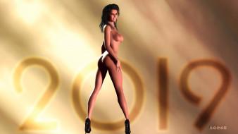 эро-графика, 3д-эротика, взгляд, девушка, грудь, фон
