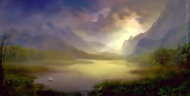 растение, гора, лебедь, водоем
