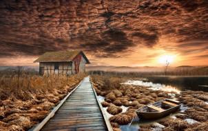 лодка, дом, мост, закат