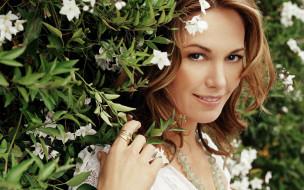 цветы, улыбка, лицо, Diane Lane