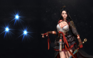 девушка, меч, азиатка