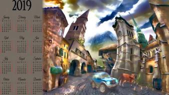 город, здание, машина, корова, улица, дом