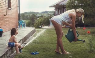юмор и приколы, лейка, мальчик, маки, девушка, вода, попа
