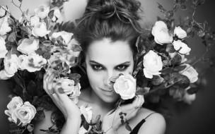 черно-белая, Melia Kreiling, цветы, лицо