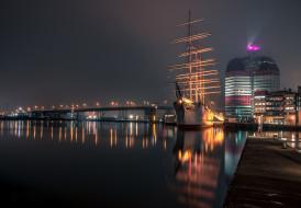 огни, ночь, Гётеборг, Швеция