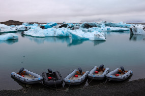 залив, лагуна, Исландия, море, берег, лёд, лодки