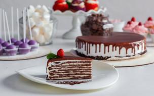 шоколадный, торт