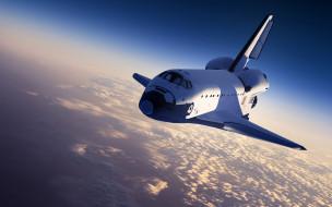 космос, космические корабли,  космические станции, шаттл, земля, облака, солнце, небо
