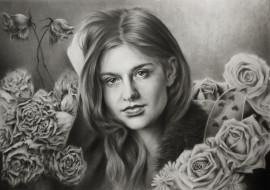 девушка, розы, фон, взгляд