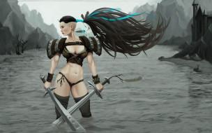 девушка, фон, меч, униформа