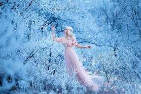 макияж, деревья, снег, цветы, ветки, поза, платье