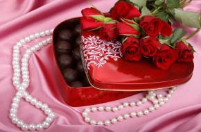 коробка, конфеты, бусы, букет, розы
