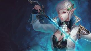 меч, девушка, эльф, фон, взгляд