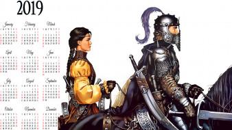 шлем, конь, девушка, мужчина, лошадь, оружие, доспехи