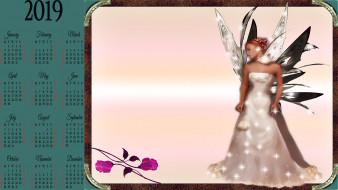 фея, девушка, крылья, цветок