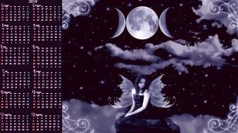 ночь, луна, девушка, крылья