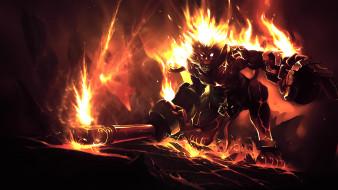 фон, взгляд, огонь, существо