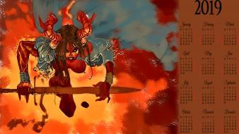 рога, оружие, демон, девушка