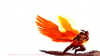 воин, оружие, крылья, мужчина