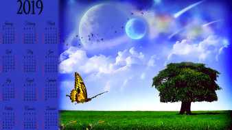 небо, облако, природа, планета, дерево, бабочка