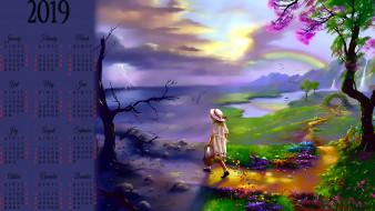 молния, радуга, дерево, шляпа, девочка