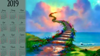 ступени, цветы, водоем