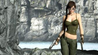 девушка, пистолет, фон, очки, взгляд
