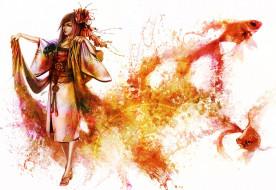 аниме, магия,  колдовство,  halloween, девушка, веер, кимоно, рыбки