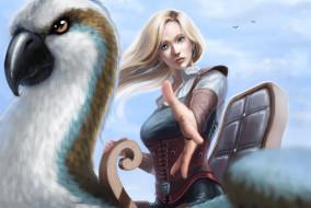 девушка, взгляд, птица, фон