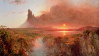 озеро, пейзаж, дым, солнце, деревья, скалы, камни
