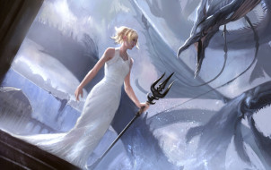 видео игры, final fantasy xv, девушка, фон, платье, существо